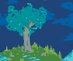 tree on grass with pretty blue sky