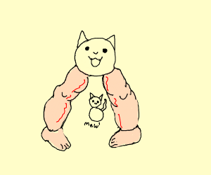 cat with beefy human legs squats over kitten