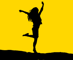 happy silhouette with gold