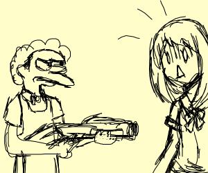Moe Szyslak shoots anime girls with shotgun