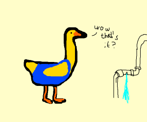 Plumber duck is unimpressed.