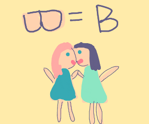 The letter B as two girls
