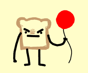 Q Mad bread slice is holding a balloon
