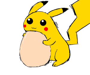 pikachu with an egg