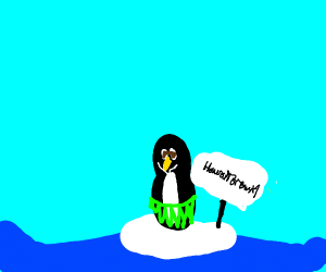penguin in a hula skirt