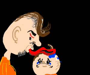 a dispointed father licking his son for fun