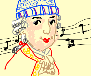 Mozart wearing a Hat