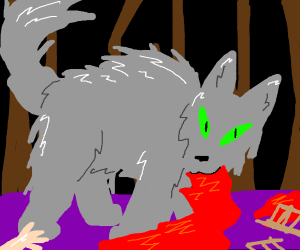 Wolf eats Red Riding Hood