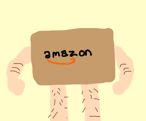 Amazon box with human limbs