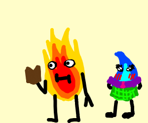 Water schoogirl behind Fire guy reading book