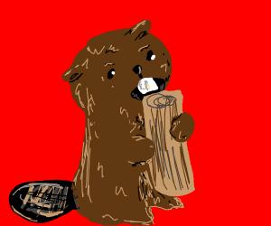 Beaver chompin on some wood