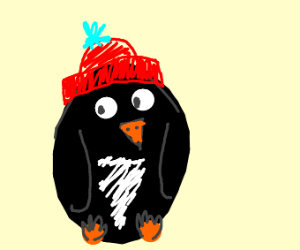 penguin with a hat