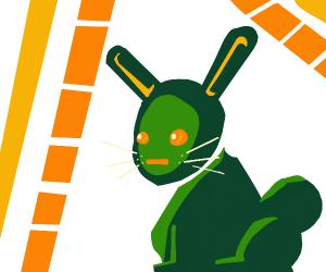 cute smoll green rabbit