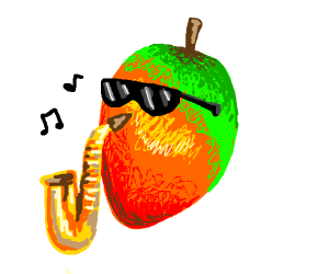 Mango Playing A Saxaphone