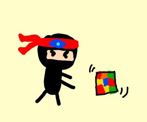 A Ninja Uses Psychic Powers On Rubik's Cube