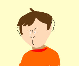 small Face guy with short hair orange shirt