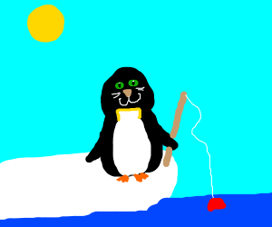 penguin with catface fishing