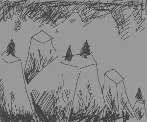 grey prism like mountains