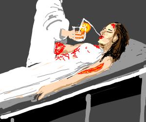 Doctor give horrible injured girl fruit drink