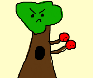 Tree with boxing gloves