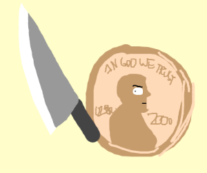 Penny with a knife