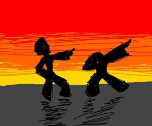Two Silhouettes Dance