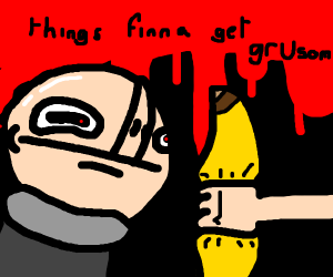 Gru eating a banana