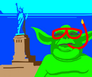 yoda after a swim, looks at statue of liberty