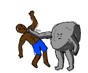 Man getting hit by boulder