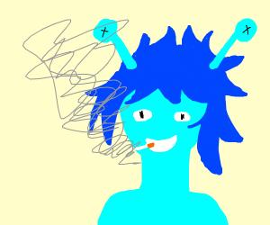 blue alien smokes a bit