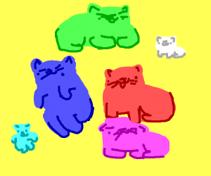 7 cats one kitten all different colors pastel