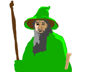 green gandalf with a cane and paper