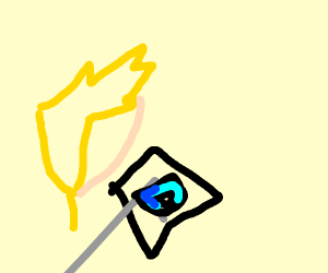 Happy man playing drawception