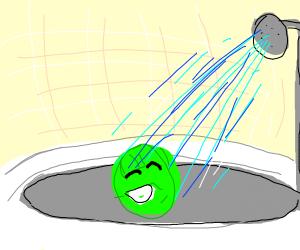 A pea pod showering