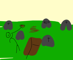 person digging spot for dead guy in graveyard