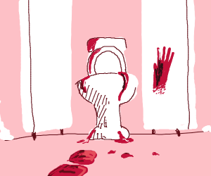 a blood covered public bathroom