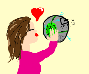 Girl about to kiss an orb