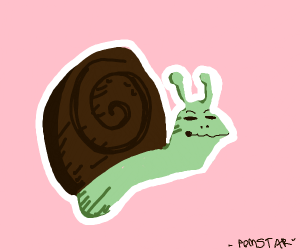 A green snail with a brown shell