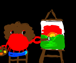 Crab is creating a masterpiece