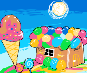 ice cream trees and candy houses