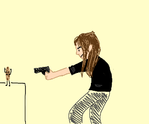 Girl aiming at a cookie with a gun