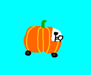 person riding a pumpkin car
