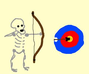 Skeleton shot a bullseye