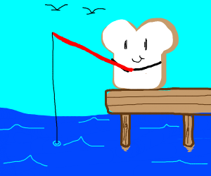 A piece of bread fishing