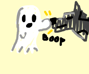 ghost touching a metal cog