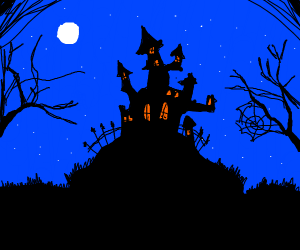 Very spooky/horror castle, with fullmoon