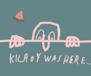 Kilroy (the WW2 drawing) with melon