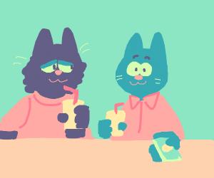 Cats buying lemonade