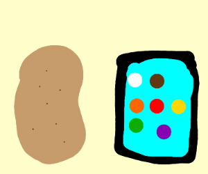 a potatoe seperated from a phone