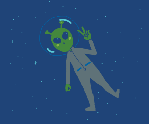 Green alien floats in space w/ fist and peace